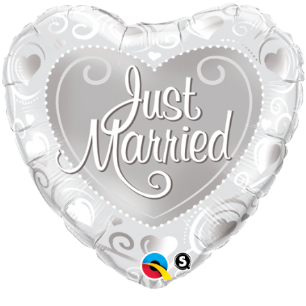 Just Married Hearts Silver Foil Helium Balloon